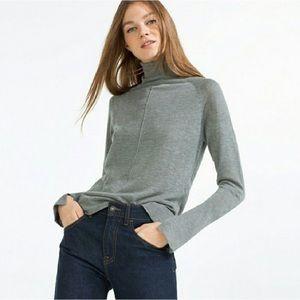 ZARA KNIT Lightweight Grey Turtleneck Sweater Top